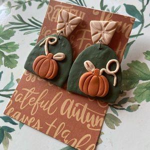 Fall pumpkin clay earrings